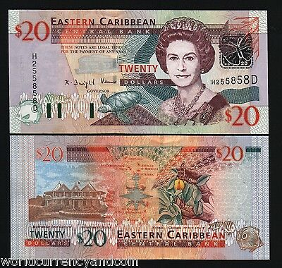 DOMINICA EAST CARIBBEAN STATES $20 P44D 2003 QUEEN BUTTERFLY SHIP UNC GB UK NOTE