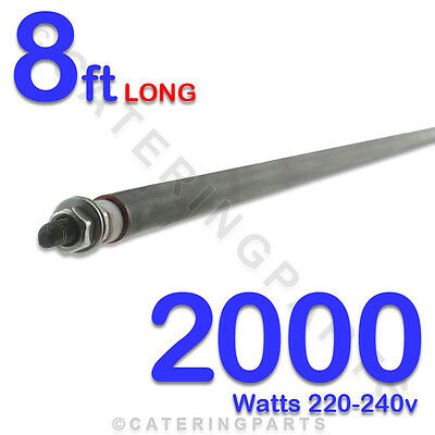 "HE9620 96"" / 8ft LONG 2000 WATT 2kW DRY / WET ROD 230v HEATING ELEMENT UNIVERSAL"