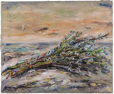 1960's Impressionist Oil Painting Continental Flowers Seascape Signed