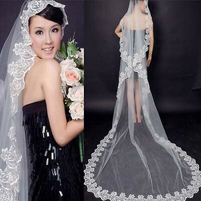 Beautiful White Cathedral Length Lace Edge Wedding Bridal Veil 1T 3M
