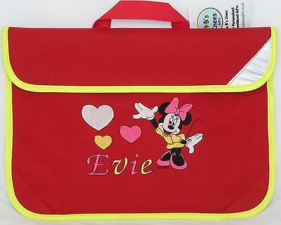 Personalised Embroidered Kids book bag for school- Minnie Mouse design any name