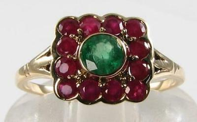 Stunning Quality 9K Gold Deco Ins Emerald & Indian Ruby Ring