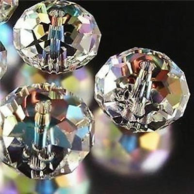 98pcs Clear Crystal Gem Beads size 6mm