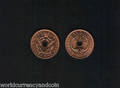 Rhodesia & Nyasaland 1 Penny Km2 1958 Unc Queen Elephant Africa Currency Coin