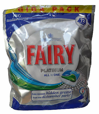 Fairy PLATINUM ALL in ONE Dishwasher tablets, GIGA Pack 72 tablets