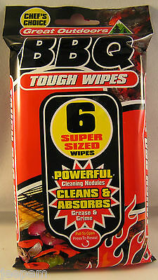 12 BBQ  Cleaning Wipes Large Barbecue Grill Cleaner Cloths absorb grease & grime