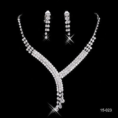 Wedding Bridal Crystal Rhinestone Necklace Earring Jewelry Sets for Evening Prom