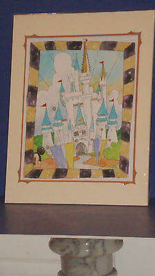 """The Art Of Disney Randy Noble """"Our World Castle"""" Abstract Mickey 14x18 Matted"""