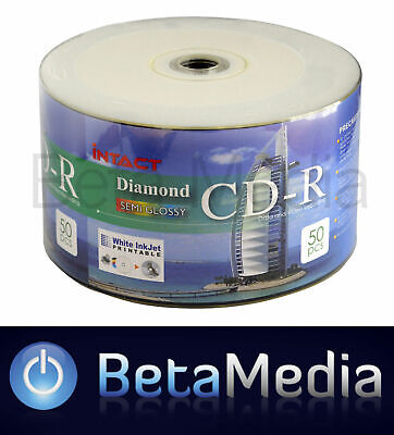 50 x INTACT Diamond Semi Glossy Blank CD-R 52X Full White Hub Printable CD R