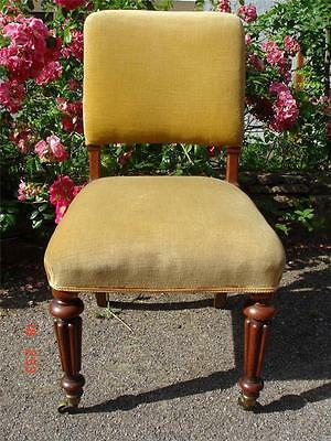 A Beautiful Stylish Mahogany Framed Upholstered Antique Victorian Library Chair