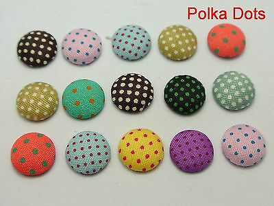50 Mixed Color Flatback Polka Dots Fabric Covered Buttons Round 12mm Cabochon