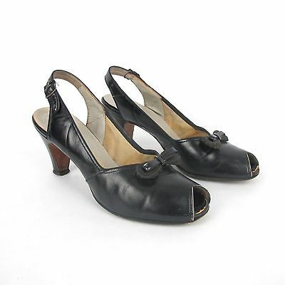 1940s Black Bows High Heels 40s Vintage Peep Toe Slingback Leather Pinup Size 8