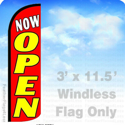 NOW OPEN - WINDLESS Swooper Feather Flag 3x11.5' Banner Sign - rq108