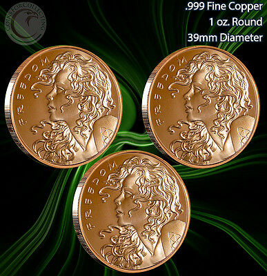 """Freedom Girl Set"" of 3 1 oz .999 Copper Rounds Very Limited and Rare Read"