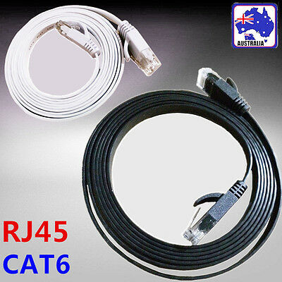 Black White Flat Network Cable RJ45 LAN Ethernet Cat6 1m 2m 5m 10m 15m 20m 30m