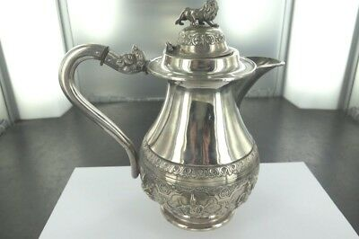 Stunning Antique Indian Solid Silver Tall Teapot. Early To Mid 1900's.