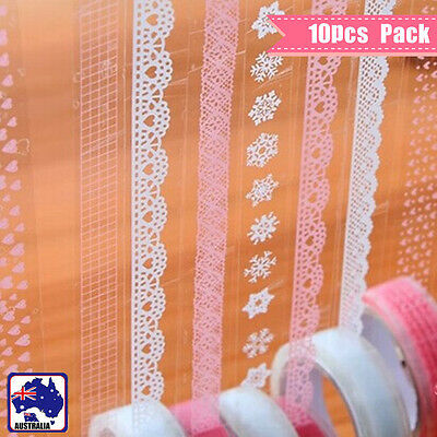 10 Rolls Lace Sticky Tape Sticker Trim Label Scrapbooking Paper DIY White Pink