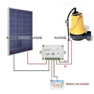 12V Solar Power Water Pump Kit w/ 100W Solar Panel for Watering Car Washing