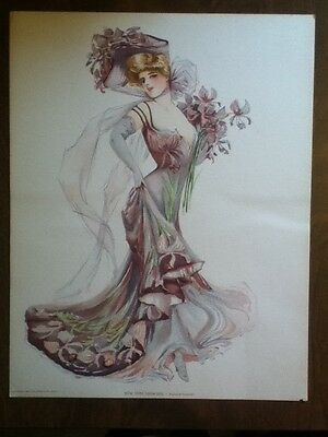 New York Show Girl Old Vintage 1907 BROADWAY Antique VICTORIAN PRINT