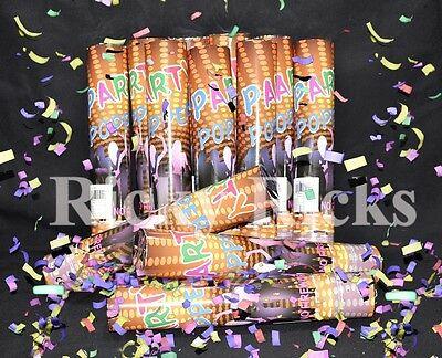 12 Party Poppers Confetti Wedding Shooter Cannon Streamer New Years Eve