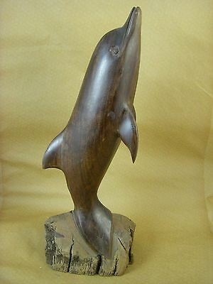 """Vintage Ironwood Wood Carving - Dolphin / Porpoise - 17"""" Figurine Sculpture"""
