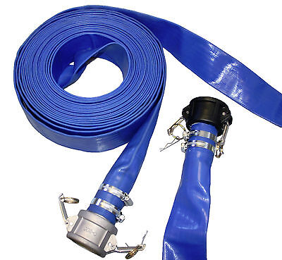 "Blue Layflat Discharge Pump Hose Assembly With Camlock Coupling, 10M-50M 1""-4"""