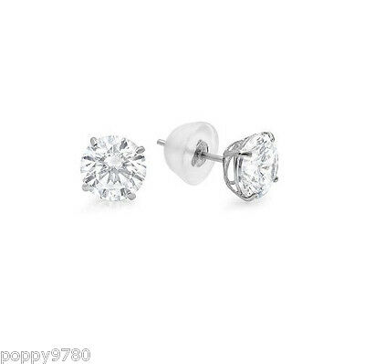 NEW 14k Real White Gold Round 6 - 10mm Cubic Zirconia CZ Stud Earrings Silicone