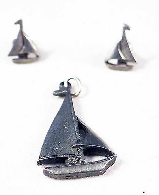 Rare Womens Beautiful Sailboat Pendant & Pierced Earring Set - Very Dainty