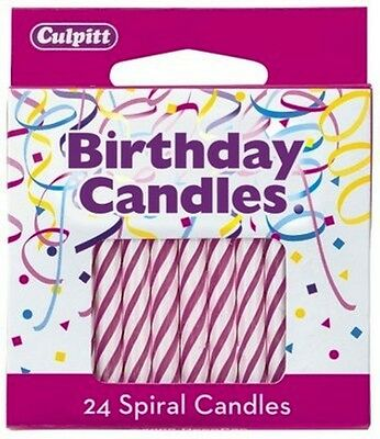 24 ~ Spiral Pink Birthday Candles ~ NEW!!! - 9661