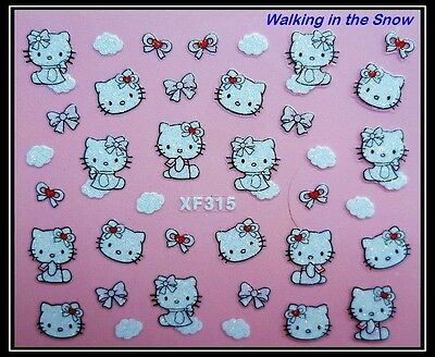 Cute Hello Kitty Cat Red Bow with Glitter - Nail Art 3D Sticker XF315
