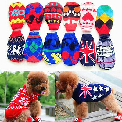 Winter Pet Dog Sweater Turtleneck Pullover Knit Knitwear Shirt Clothes 5 Sizes