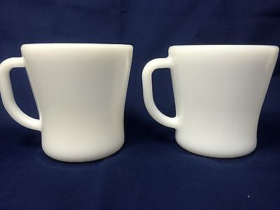 Set of 2 Vintage White Federal Glass 8oz Fire Proof Milk Glass Coffee Mugs Cups