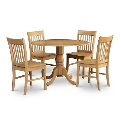 5PC ROUND DINETTE KITCHEN DINING TABLE w/ 4 WOOD SEAT CHAIRS IN LIGHT OAK FINISH