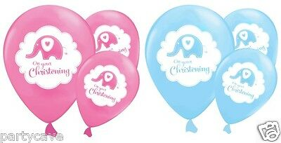 On Your Christening Baby Boys Girls Party Sweet Elephant Helium Balloons 6 Pack