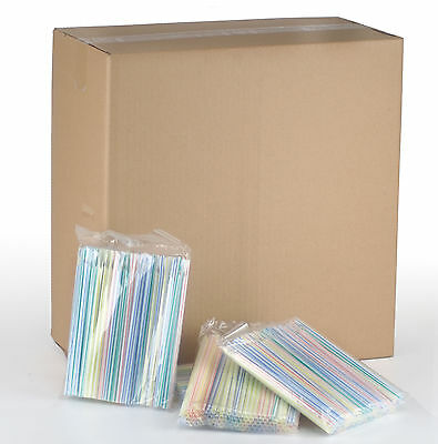 "Bulk Box Spoon Straws approx 4700 multicoloured 8"" slush Drinks and slushies"
