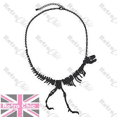 BLACK dinosaur WALKING T REX NECKLACE metal bones TYRANNOSAURUS SKELETON skull