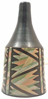 Signed Suyon HAND-CRAFTED CERAMIC BELL BOTTLE Chulucanas, Peru, Pottery 1529
