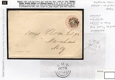 IRELAND-Co DOWN: 1842 penny pink envelope with NEWRY maltese cross (S27389).