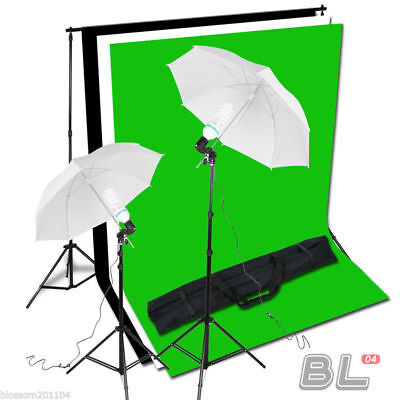 3m x 2m White Black Green Screen Lighting Kit with Backdrop Background Stand AU