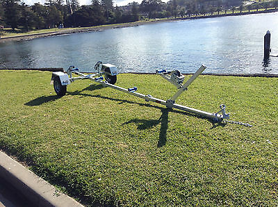 SeaTrail, Folding Boat/Tinny Trailer, Galvanised, Suits boats up to 3.7m