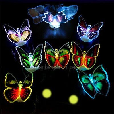 6pcs Colors Changing Fiber Optic Flashing LED Butterfly Party Decor Light Lamp