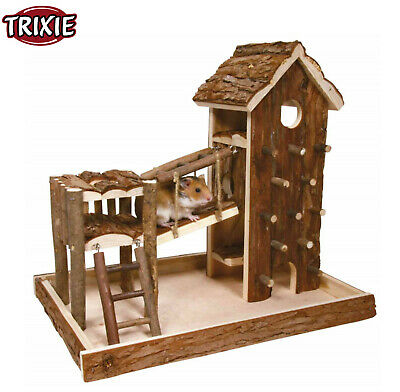 Trixie Syrian Hamster Mouse Birger House Hide Natural Wood Playground Run 61642