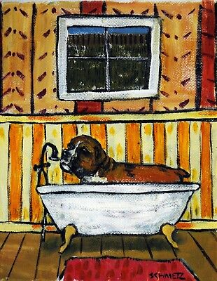 Boxer dog original oil painting signed bathroom wall art impressionism 8x10 new