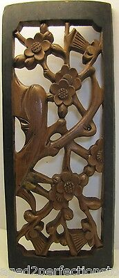 Old Wood Decorated Floral Panel great Old Wax Repair vintage high relief design
