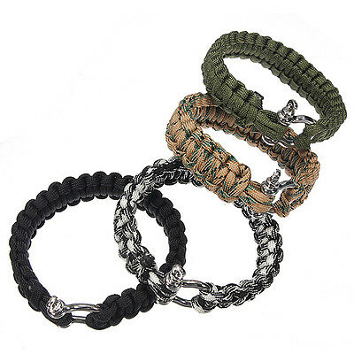 ParaCord Survival Pulsera Weave Handmade Shackle Buckle 7-Stand Acero Inoxidable