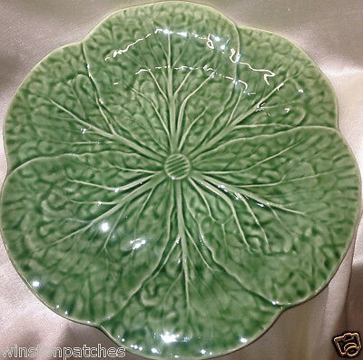 """Bordallo Pinheiro Embossed Green Cabbage 9.4"""" Luncheon Plate Frog Label On Back"""