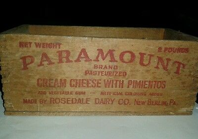 Paramount cream cheese with pimientos vintage finger joint wooden box