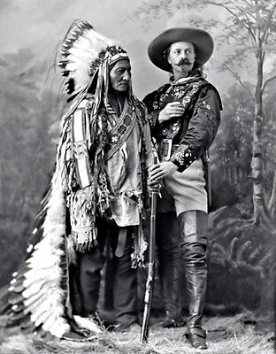 Bill Cody Sitting Bull Photo Large 11X14 - 1885 Buffalo Lakota Indian Chief