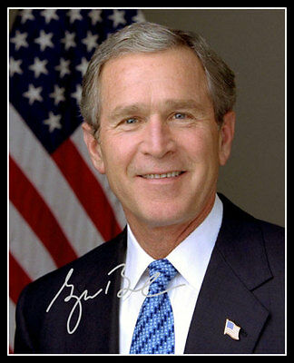 George W Bush Autographed Repro Photo 8X10 - President Official Portrait