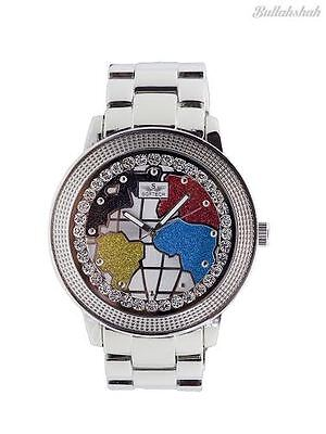 be19d9a73ef7 Softech Men s World Map Red Blue Silver Diamante Face Analog Quartz Metal  Watch